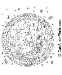 kerstmis, kleuren, pagina