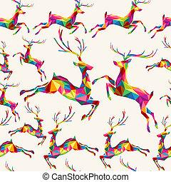kerstmis, kleurrijke, driehoek, rendier, seamless, model