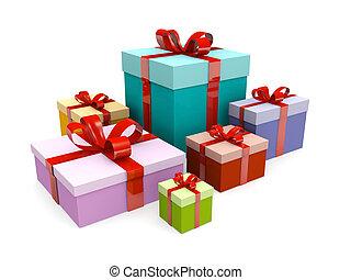 kerstmis, kleurrijke, kado, giftdoos