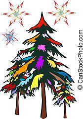 kerstmis, kleurrijke, t