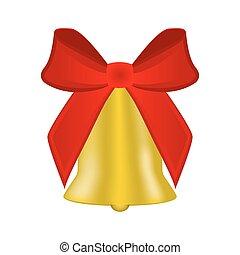 kerstmis, klok, met, rode boog