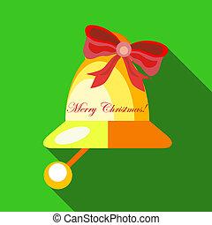 kerstmis, klok, pictogram, plat, stijl