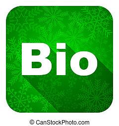 kerstmis, knoop, bio, plat, pictogram