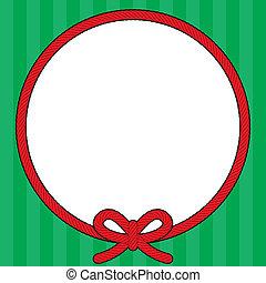 kerstmis, koord, krans, frame