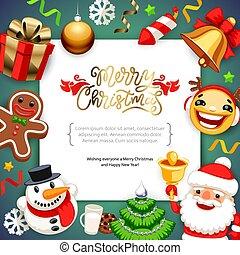 kerstmis, kopie, achtergrond, vrolijk, ruimte