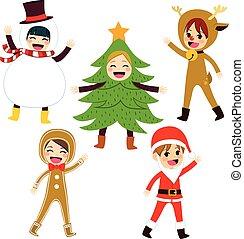 kerstmis, kostuum, kinderen