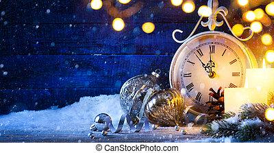 kerstmis, kunst, jaren, eve;, achtergrond, nieuw, vakantie, ...