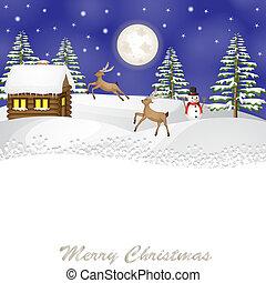 kerstmis, landscape, met, rendier