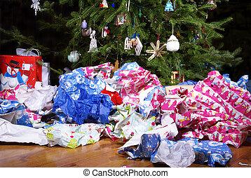 kerstmis, landscape, warboel, na