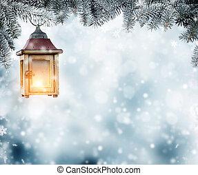 kerstmis, lantaarntje, hangend, spar, takken