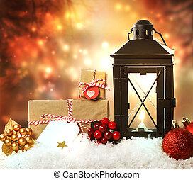kerstmis, lantaarntje, met, versieringen, en, kadootjes