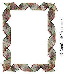 kerstmis, linten, frame, of, grens