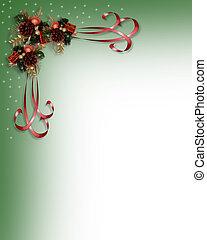 kerstmis, linten, grens