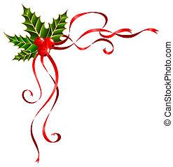 kerstmis, linten, verfraaide