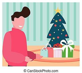 kerstmis, man, boompje, scène, cadeau
