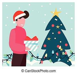 kerstmis, man, boompje, scène, doosje, cadeau