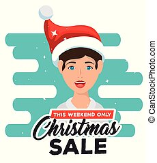 kerstmis, man, karakter, verkoop, etiket