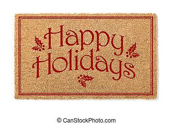 kerstmis, mat, welkom, vrijstaand, feestdagen, achtergrond, witte , looien, vrolijke
