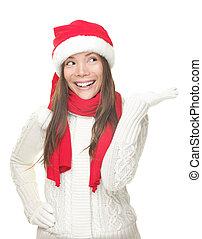 kerstmis, meisje, het tonen, de ruimte van het exemplaar