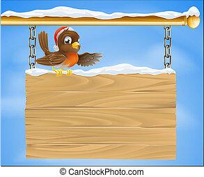 kerstmis, meldingsbord, robin, vogel