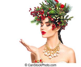 kerstmis, mode, magisch, winter, haar, op, sneeuw, hand, blazen, achtergrond, witte , meisje