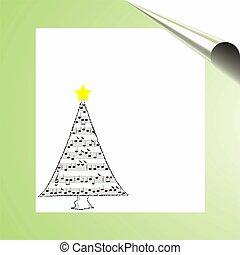 kerstmis, muziek, kaart, met, bomen