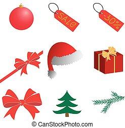 kerstmis., nieuw, year., clipart., vector.