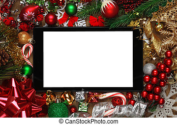 kerstmis, omringde, decoraties, tablet, leeg