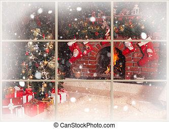 kerstmis, openhaard, in, de, kamer