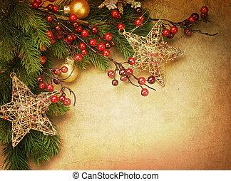 kerstmis, ouderwetse , begroetende kaart, met, de ruimte van...