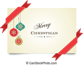 kerstmis, ouderwetse , begroetende kaart, met, versieringen, en, linten