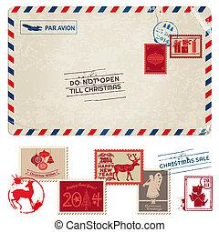 kerstmis, ouderwetse , postkaart, met, postzegels, -, voor,...
