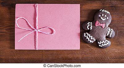 kerstmis, peperkoekmannetje, koekje, en, enveloppe