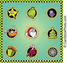 kerstmis, pictogram, gekke
