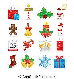 kerstmis, pictogram, set