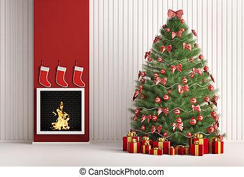kerstmis, pijnboom, en, openhaard, 3d, render