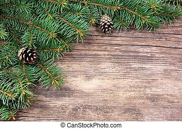 kerstmis, pijnboom, op, een, houten, achtergrond