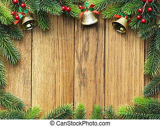 kerstmis, pijnboom, op, wooden board