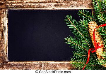 kerstmis, pijnboom, tak, op, ouderwetse , bord, met, puntzak, en