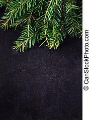 kerstmis, pijnboom, tak, op, ouderwetse , bord