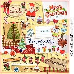 kerstmis, plakboek, set.