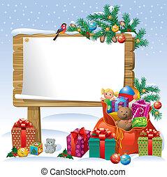 kerstmis, plank, meldingsbord, houten