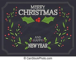 kerstmis, plank, versiering, krijt