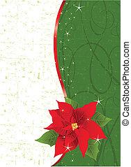 kerstmis, poinsettia, rood, verticaal
