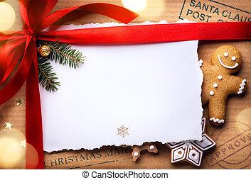 kerstmis, post, feestdagen, surprise;, kerstmis, begroetende kaart, achtergrond
