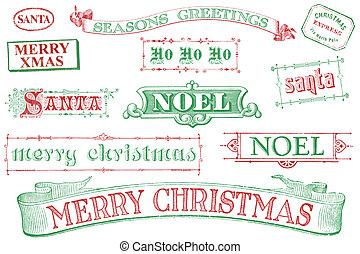 kerstmis, postzegels, ouderwetse
