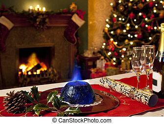 kerstmis pudding, en, feestelijk, openhaard