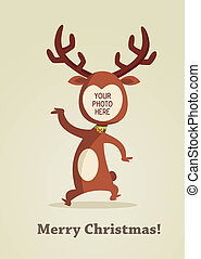 kerstmis, rendier, kaart, met, plek, voor, jouw, foto