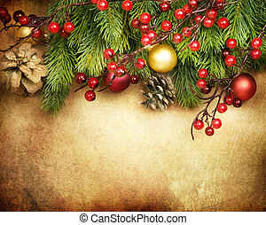 kerstmis, retro, kaart, grens, ontwerp