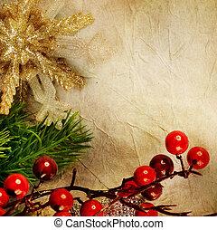 kerstmis, retro, kaart